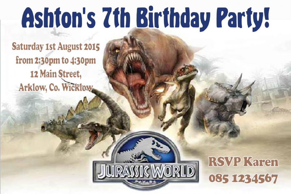 personalised jurassic world invitations